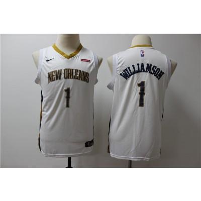 NBA Pelicans 1 Zion Williamson White Nike Swingman Youth Jersey