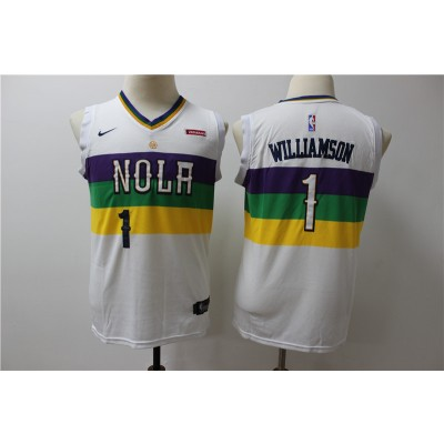NBA Pelicans 1 Zion Williamson White City Edition Nike Swingman Youth Jersey