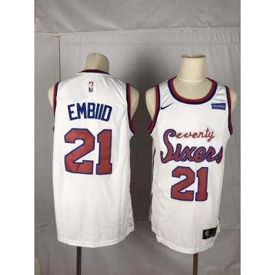 NBA 76ers 21 Joel Embiid White Nike Throwback Number Men Jersey
