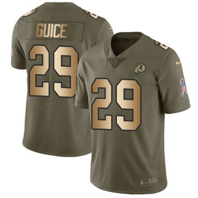 Nike Redskins 29 Derrius Guice Olive Gold Salute To Service Limited Men Jersey