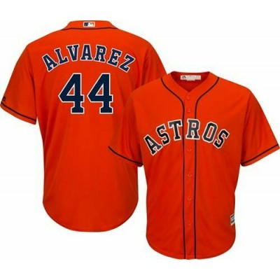 MLB Astros 44 Yordan Alvarez Orange Cool Base Men Jersey