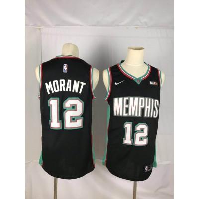 NBA Grizzlies 12 Ja Morant 20th Season Classic Black Men Jersey
