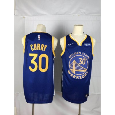 NBA Warriors 30 Stephen Curry Royal Icon Edition Finished Badge Men Jersey