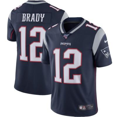 Nike Patriots 12 Tom Brady Navy 100th Season Vapor Untouchable Limited Men Jersey