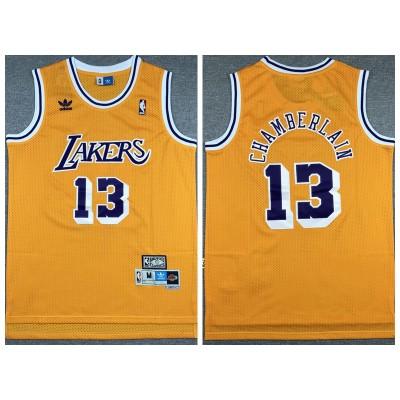NBA Lakers 13 Wilt Chamberlain Yellow Hardwood Classics Men Jersey