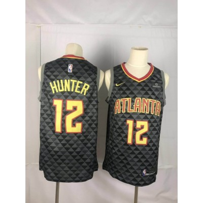 NBA Hawks 12 De'Andre Hunter Black Nike Men Jersey