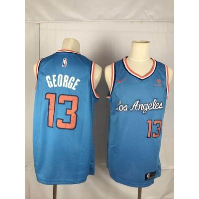 NBA Clippers 13 Paul George Blue Nike Throwback Swingman Men Jersey