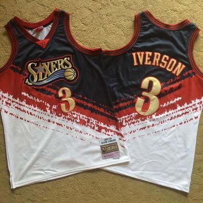 NBA 76ers 3 Allen Iverson Multi Color 1997-98 Hardwood Classics Independent Men Jersey