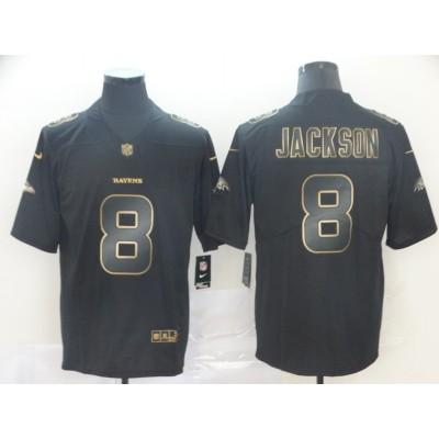 Nike Ravens 8 Lamar Jackson Black Gold Vapor Untouchable Limited Men Jersey
