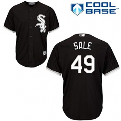 MLB Majestic Chicago White Sox 49 Chris Sale Black Cool Base Men Jersey