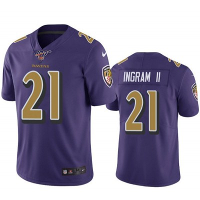 NFL Baltimore Ravens 100th 21 Mark Ingram Color Rush Purple  Men Jersey