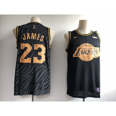 NBA Lakers 23 Lebron James Black Gold Nike Swingman Men Jersey