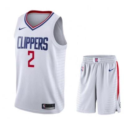 NBA Clippers 2 Kawhi Leonard White City Edition Nike Swingman Jersey Shorts