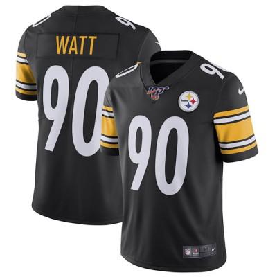 NFL Pittsburgh Steelers 100th 90 T. J. Watt Black Vapor Untouchable Limited Men Jersey