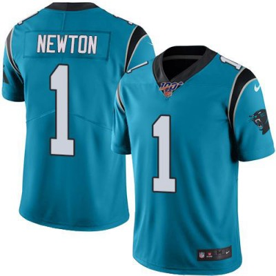 NFL Panthers 100th 1 Cam Newton Blue Color Rush Limited Men Jersey