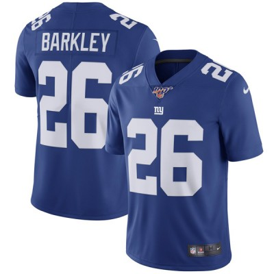 NFL New York Giants 100th 26 Saquon Barkley Royal Draft Vapor Untouchable Limited Men Jersey