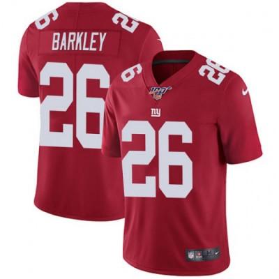 NFL New York Giants 100th 26 Saquon Barkley Red Draft Vapor Untouchable Limited Men Jersey