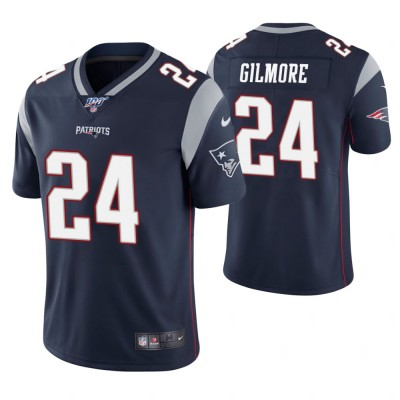 NFL New England Patriots 24 Stephon Gilmore Navy 100th Season Vapor Untouchable Limited Men Jersey