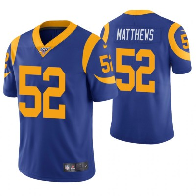 NFL Los Angeles Rams 52 Clay Matthews Royal Blue 100th Season Vapor Untouchable Limited  Men Jersey