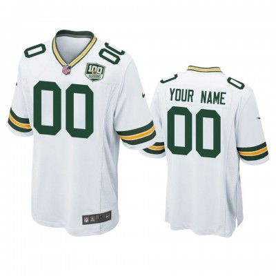 NFL Green Bay Packers Customized White 100th Season Game Men Jersey