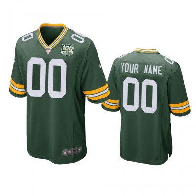 NFL Green Bay Packers Customized Green 100th Season Game Men Jersey