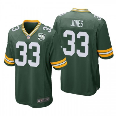 NFL Green Bay Packers 33 Aaron Jones Green  100th Season Game Men Jersey