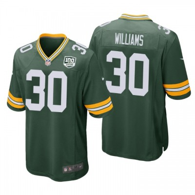 NFL Green Bay Packers 30 Jamaal Williams Green  100th Season Game Men Jersey
