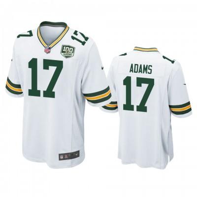 NFL Green Bay Packers 17 Davante Adams White  100th Season Game Men Jersey