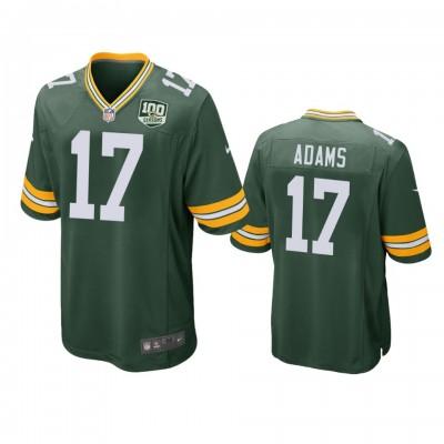 NFL Green Bay Packers 17 Davante Adams Green  100th Season Game Men Jersey