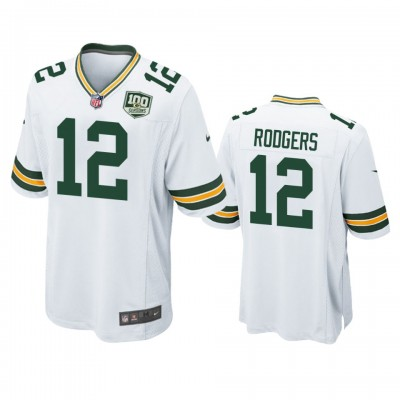 NFL Green Bay Packers 12 Aaron Rodgers White  100th Season Game Men Jersey
