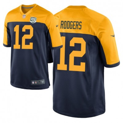 NFL Green Bay Packers 12 Aaron Rodgers Navy  100th Season Game Men Jersey