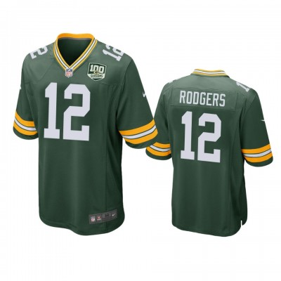 NFL Green Bay Packers 12 Aaron Rodgers Green  100th Season Game Men Jersey