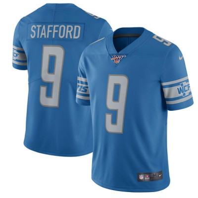 NFL Detroit Lions 100th 9 Matthew Stafford Nike Blue Vapor Untouchable Limited  Men Jersey