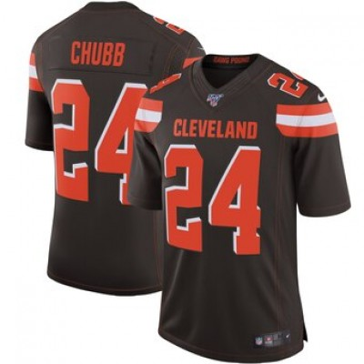 NFL Cleveland Browns 24 Nick Chubb Brown  100th Season Vapor Untouchable Limited  Men Jersey