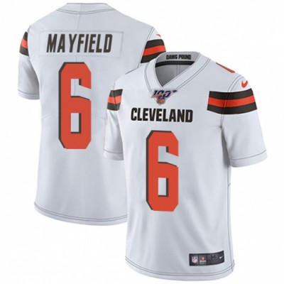 NFL Cleveland Browns 100th 6 Baker Mayfield White Vapor Untouchable Limited  Men Jersey