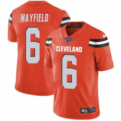 NFL Cleveland Browns 100th 6 Baker Mayfield Orange Vapor Untouchable Limited  Men Jersey