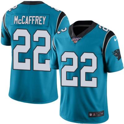 NFL Carolina Panthers 100th 22 Christian McCaffrey Blue Vapor Untouchable Limited Men Jersey