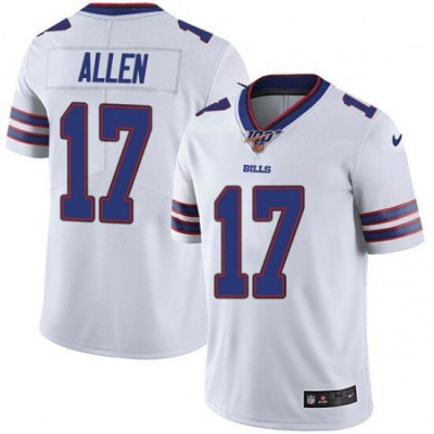 NFL Buffalo Bills 17 Josh Allen 100th Season white Vapor Untouchable Limited  Men Jersey