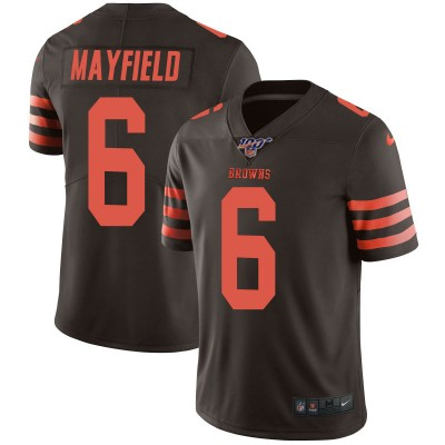 NFL Browns 100th 6 Baker Mayfield Brown Color Rush Limited  Men Jersey