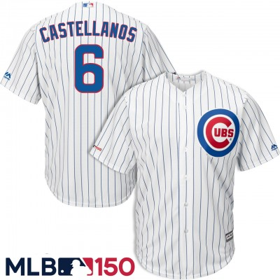 MLB Chicago Cubs 6 Nick Castellanos White 150th Year Flexbase Men Jersey