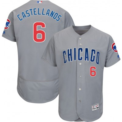 MLB Majestic Chicago Cubs Authentic 6 Nick Castellanos Flexbase Grey Men Jersey