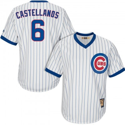MLB Chicago Cubs 6 Nick Castellanos 1968-69 Cooperstown Coolbase White Men Jersey