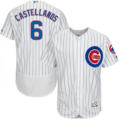 MLB Chicago Cubs 6 Nick Castellanos Flexbase Home White On-Field Men Jersey