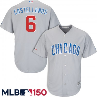 MLB Chicago Cubs 6 Nick Castellanos Gray 150th Year Flexbase Men Jersey