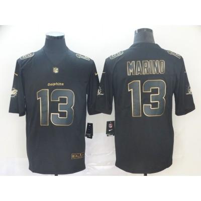 Nike Dolphins 13 Dan Marino Black Gold Vapor Untouchable Limited Men Jersey
