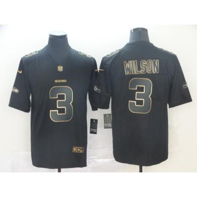 Nike Seattle Seahawks No.3 Russell Wilson Black Gold Vapor Untouchable Limited Men Jersey