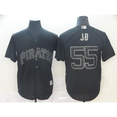 MLB Pirates 55 Josh Bell JB Black 2019 Players Weekend Player Men Jersey