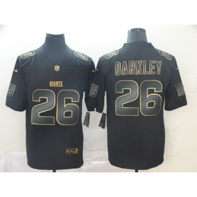 Nike Giants 26 Saquon Barkley Black Gold Vapor Untouchable Limited Men Jersey
