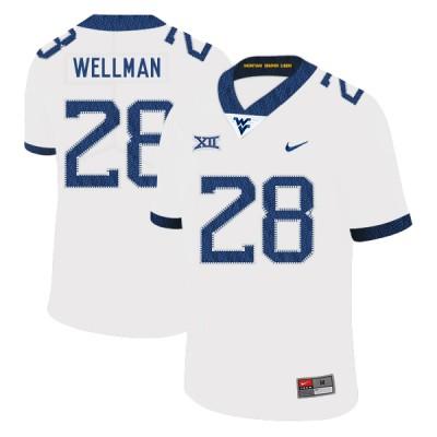 NCAA West Virginia Mountaineers 28 Elijah Wellman White College Football Men Jersey
