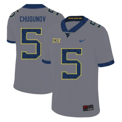 NCAA West Virginia Mountaineers 5 Chris Chugunov Gray College Football Men Jersey